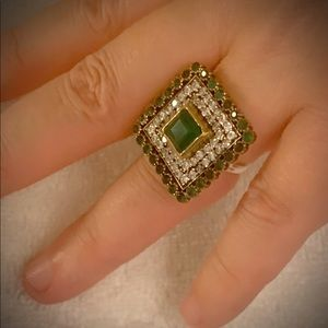 PRINCESS CUT EMERALD RING Size 7.5 Solid 925/Gold